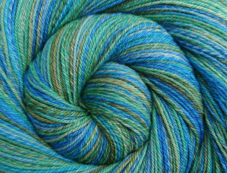 Hand Spun Yarn Fingering weight  CARIBBEAN MIST  Handpainted image 0