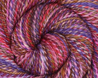 Handspun Yarn, Worsted weight, ROSES ARE RED, Hand Dyed Merino /Mulberry Silk, 190 yards, gift for knitter