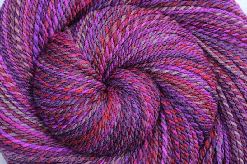 Worsted weight Handspun Yarn  SUMMER BERRIES  Hand dyed image 0