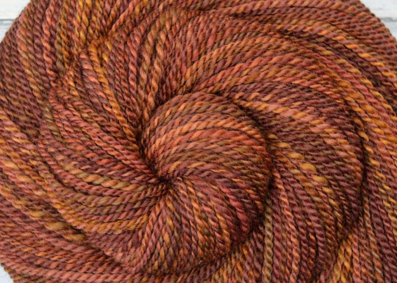 Handspun Yarn Worsted Weight  MULLED CIDER  Handpainted image 0