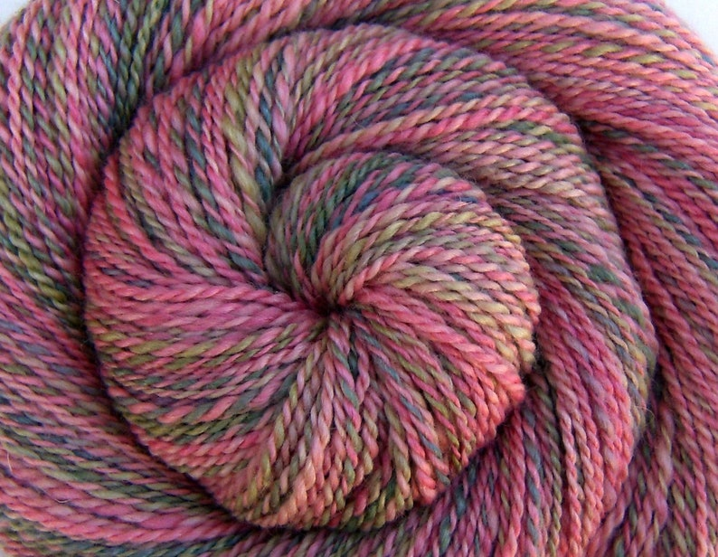 Handspun Worsted weight Yarn Wild English Roses  Hand Dyed image 0