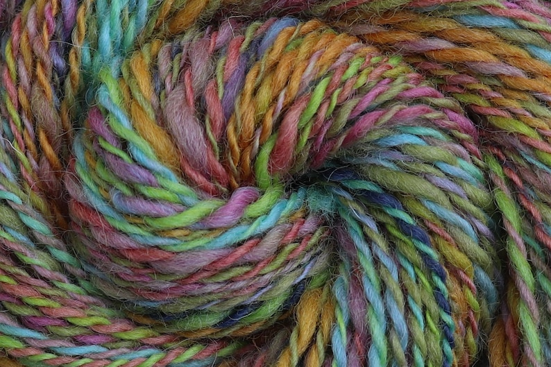 Handspun Yarn Bulky Weight  JELLY BEANS  Hand dyed image 0
