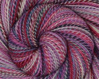 Handspun Yarn, Fine Fingering weight - PAPER ROSES - Hand Dyed 19µ Merino wool, 486 yards, gift for knitter, weaving yarn