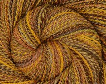 Handspun Yarn, Dk weight - WHEAT FIELDS - Hand dyed Rambouillet wool, 318 yards, hand spun yarn, gift for knitter
