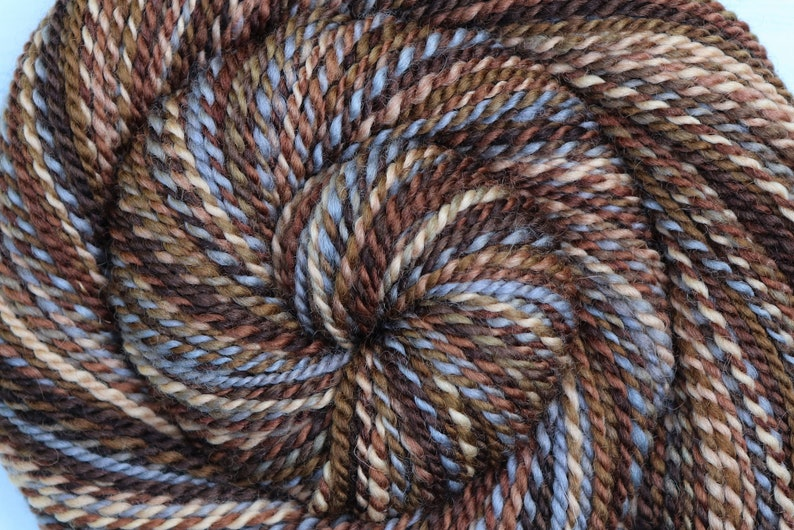 Handspun Bulky Weight Yarn  CHOPPED WOOD  Hand Dyed image 0