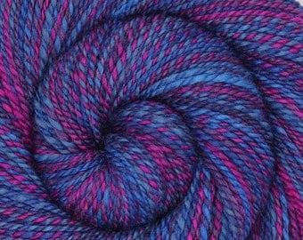Handspun Yarn, Worsted weight, SOMETHING WICKED, Handdyed Bluefaced Leicester wool /Silk, 206 yards, hand spun, BFL silk yarn