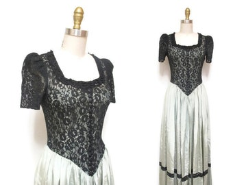 Vintage 1940s Gown | Sage Green and Black Lace 1940s Party Dress | size xs - small