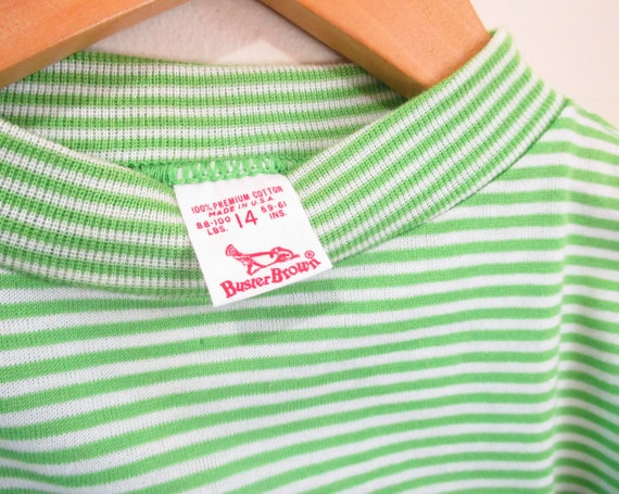 Vintage 1960s Green Striped Tshirt   NOS Never Wo… - image 3