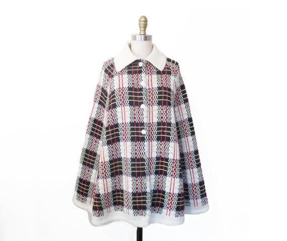 Vintage 1960s Cape | Mod Knit Plaid Pattern 1960s