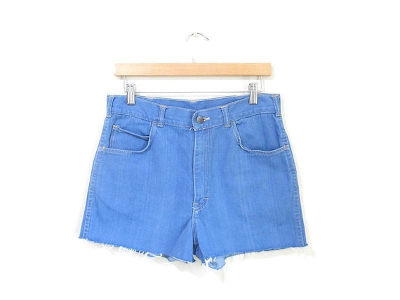 Vintage 1970s Denim Shorts | Light Blue 1970s Cuto
