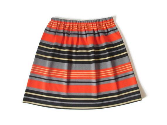 Vintage 1960s Mod Mini Skirt | Striped Op Art 1960