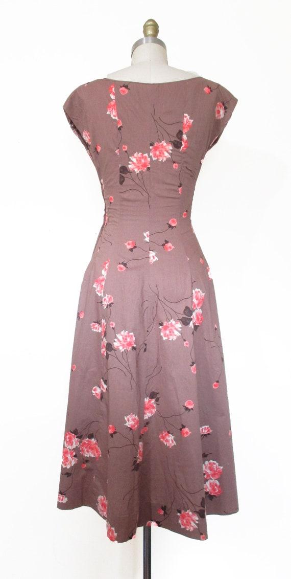 Vintage 1950s Dress | Rose Print Pink and Brown 1… - image 5
