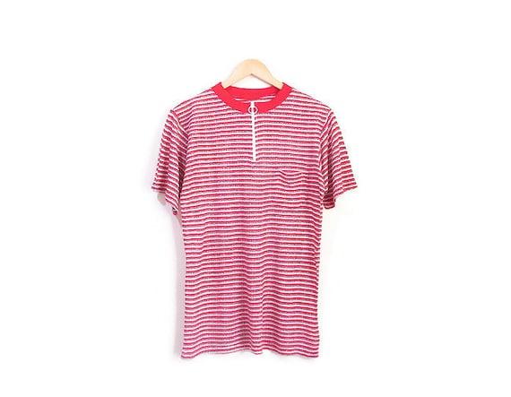 Vintage 1960s Tshirt | Mod Zip Front 1960s 70s Tsh