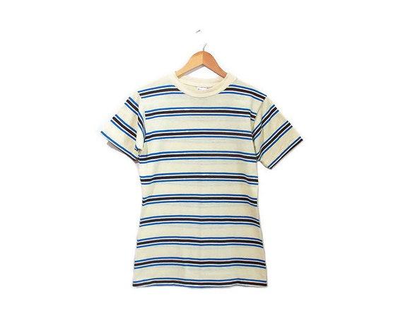 Vintage 1960s Tshirt |  1960s 70s Striped Tshirt |