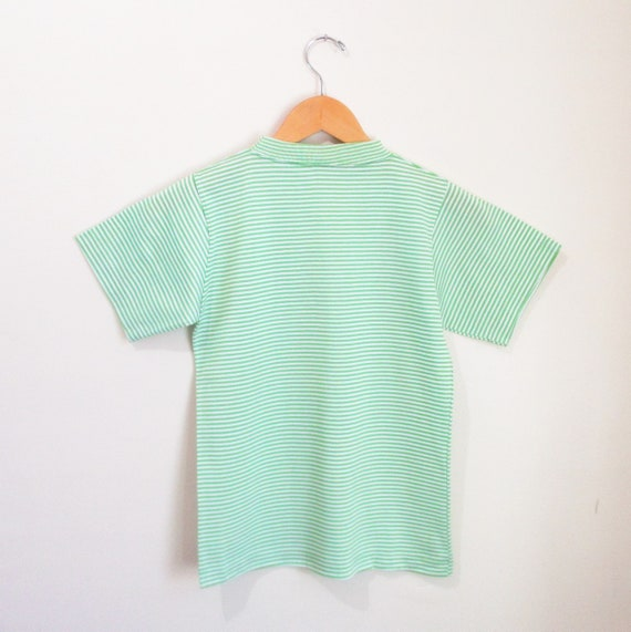 Vintage 1960s Green Striped Tshirt   NOS Never Wo… - image 4