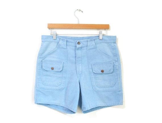 Vintage 1970s Shorts | Light Blue Cotton 1970s Cam