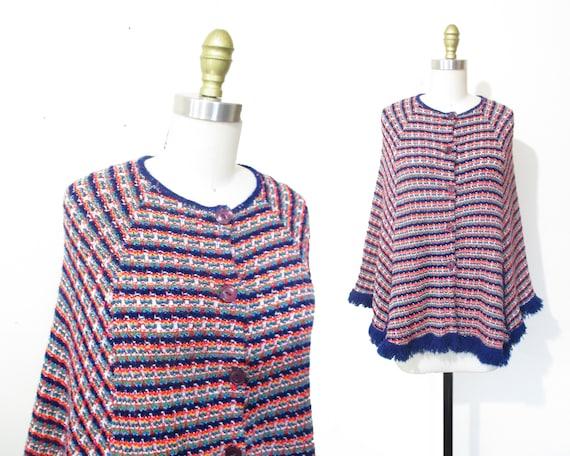 Vintage 1960s Cape | Rainbow Knit 1960s 70s Poncho