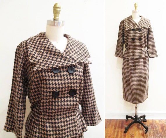 Vintage 1950s Suit |  Brown and Grey Houndstooth 1