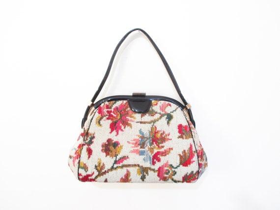 Vintage 1950s Needlepoint Handbag | Floral Tapestr