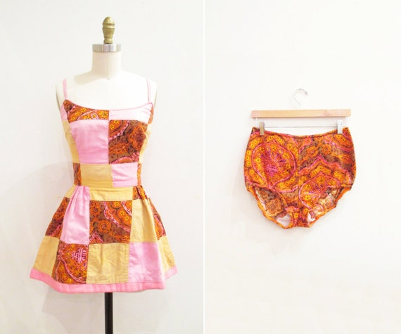 Vintage 1960s Swimsuit   Psychedelic Patchwork 196