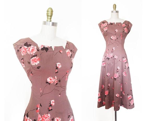 Vintage 1950s Dress | Rose Print Pink and Brown 19