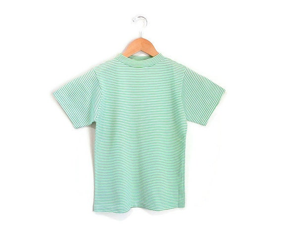 Vintage 1960s Green Striped Tshirt   NOS Never Wo… - image 2
