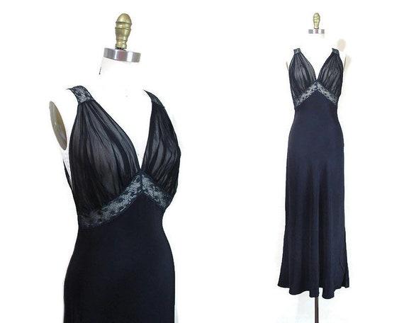Vintage 1940s Black Nightgown | Black Rayon and La