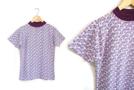 Vintage 1960s Tshirt | Mod Paisley Print 1960s 70s