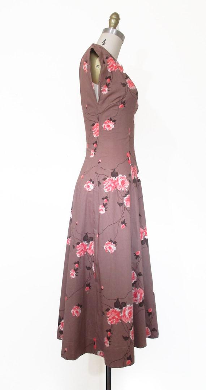 Vintage 1950s Dress | Rose Print Pink and Brown 1… - image 4