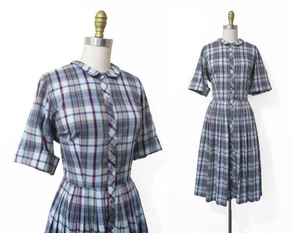 Vintage 1950s Dress | Blue Plaid Print 1950s Shirt