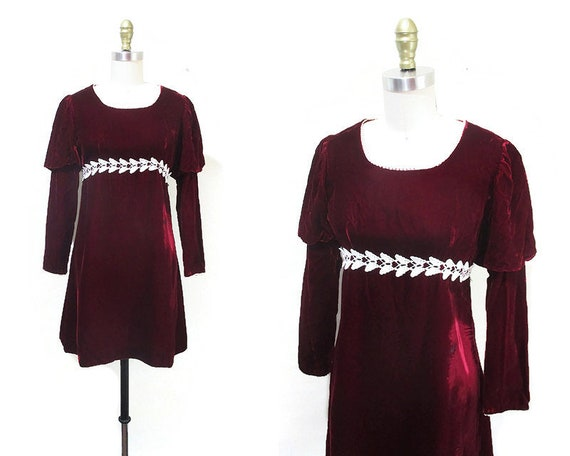 Vintage 1960s Velvet Mini Dress | Juliet Sleeve Wi