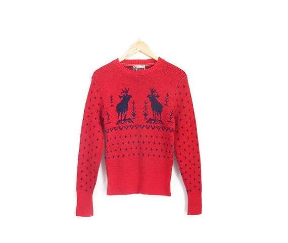 Vintage 1940s Sweater | Red Reindeer Print 1940s 5