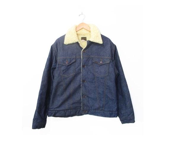Vintage 1970s Large Sherpa Lined Jean Jacket 1970s Sherpa Lined Rancher Jacket 70s Large Sherpa Lined Denim Jacket