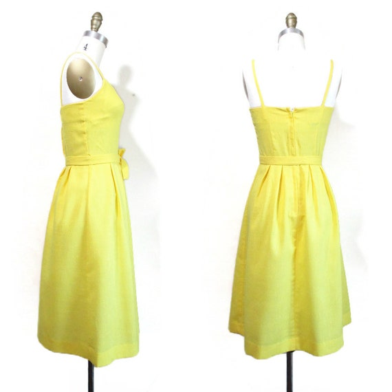 Vintage 1970s Sundress   Bright Yellow Embroidere… - image 5