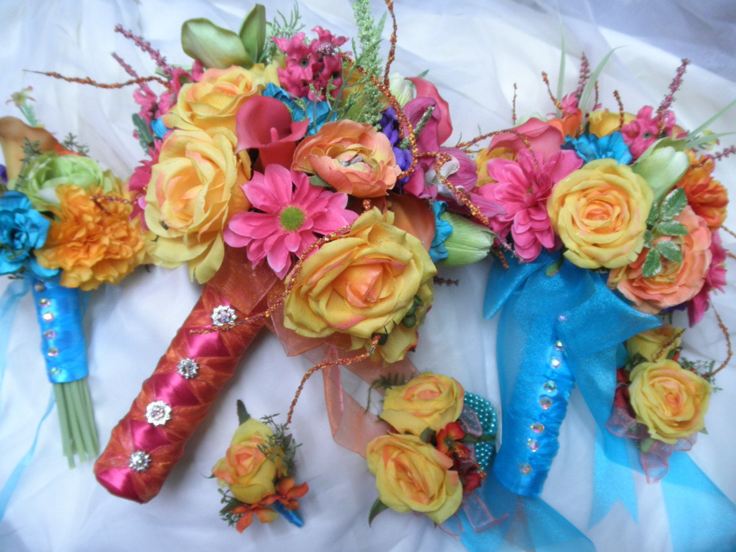 4 piece set Bridal Bouquet Tropical Beach Wedding Colors pink ...
