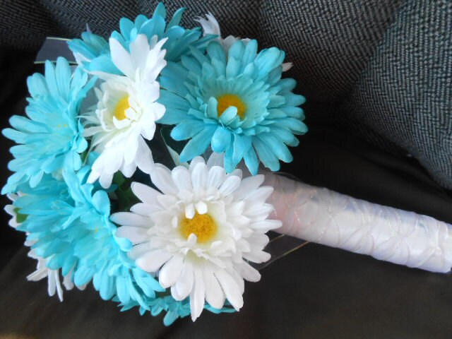 10 pc. set: DAISY Wedding Flowers Blue White GERBERA Bride Bridal ...