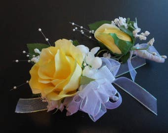 2 pc. set:YELLOW ROSE Corsage + Boutonniere. Wrist corsage or pin-on. Florist Quality Silk Flowers for  Prom Wedding Daddy Daughter Dance