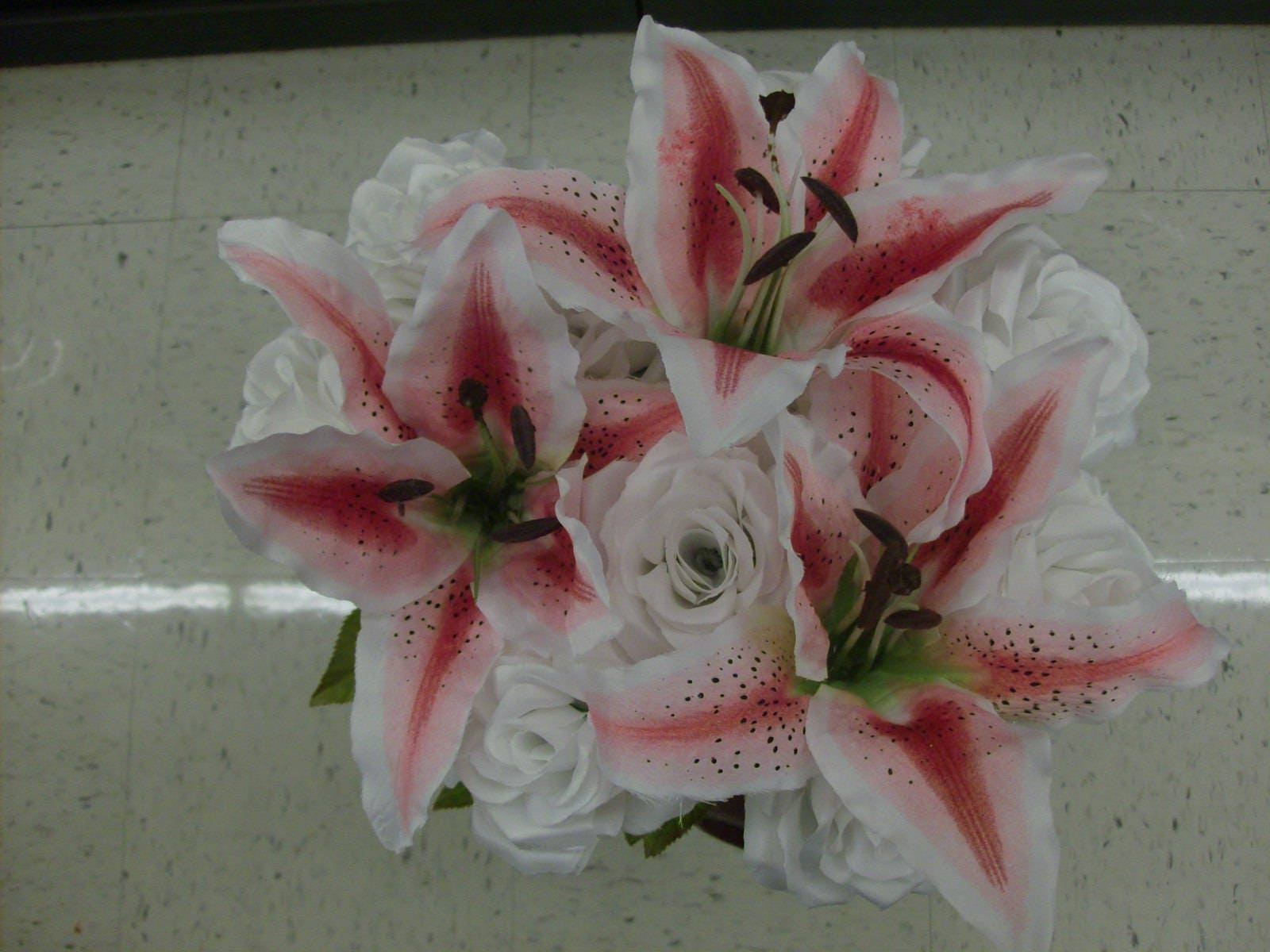 Hot pink stargazer lily white rose bridal bouquet premium quality hot pink stargazer lily white rose bridal bouquet premium quality designer flowers beach bride destination wedding free groom boutonniere mightylinksfo