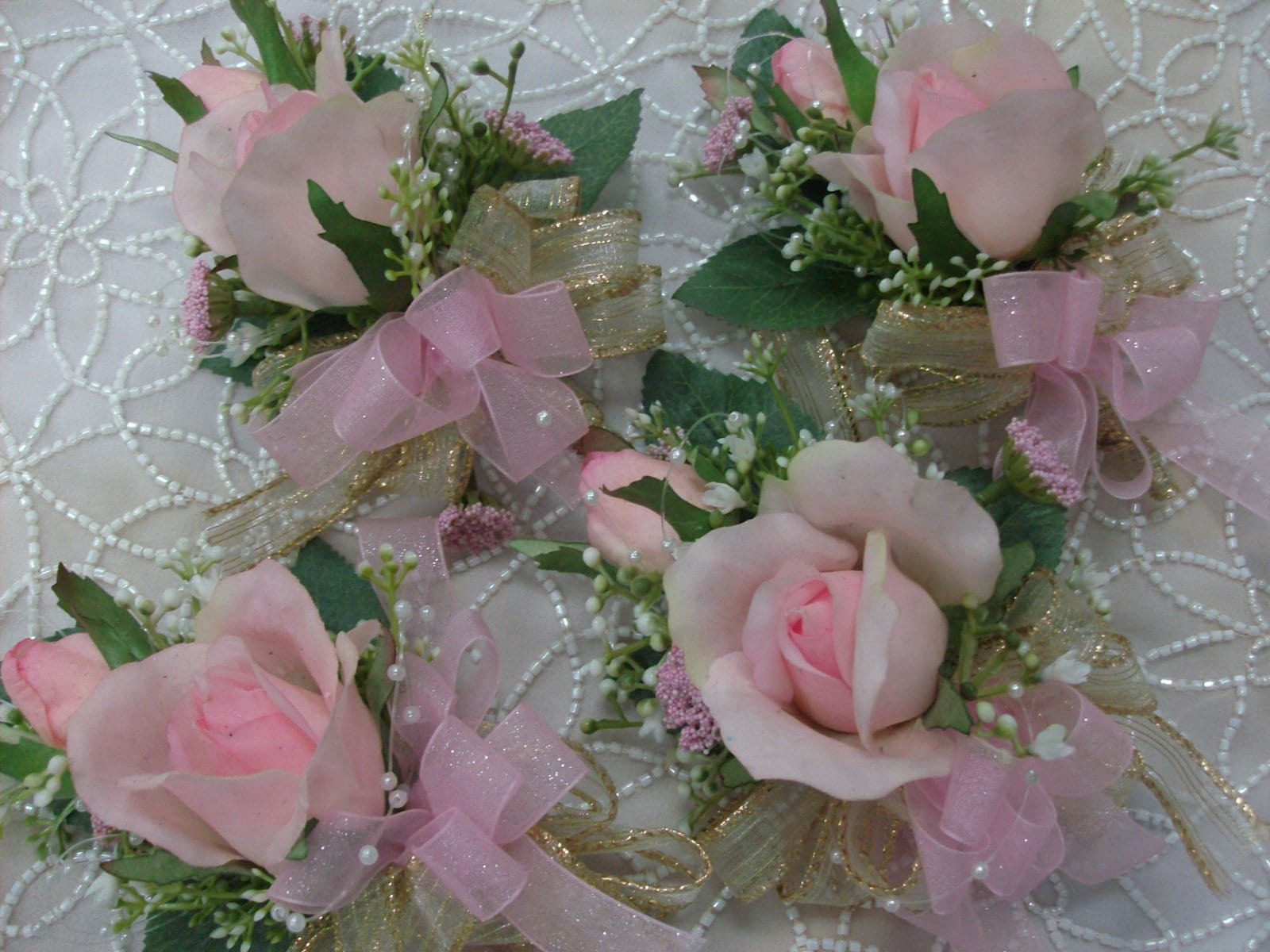 Wedding Corsages Real Touch Rose Light Baby Pink White Gold Mother