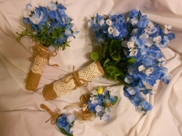 15 piece texas blue bonnet silk bridal flowers bluebonnets bride 15 piece texas blue bonnet silk bridal flowers bluebonnets bride bouquet 2 bridesmaid 6 bout 4 corsage burlap lace rustic country wedding mightylinksfo