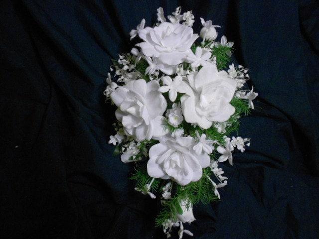 Lily Of The Valley Wedding Bouquet: WHITE GARDENIA Cascade Bridal Bouquet. White Stephanotis