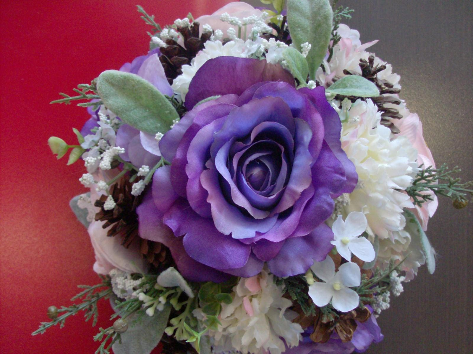 Purple white and blush bridal bouquet purple rose blush ranunculus purple white and blush bridal bouquet purple rose blush ranunculus lambs ear in silver green white babies breath free groom boutonniere izmirmasajfo