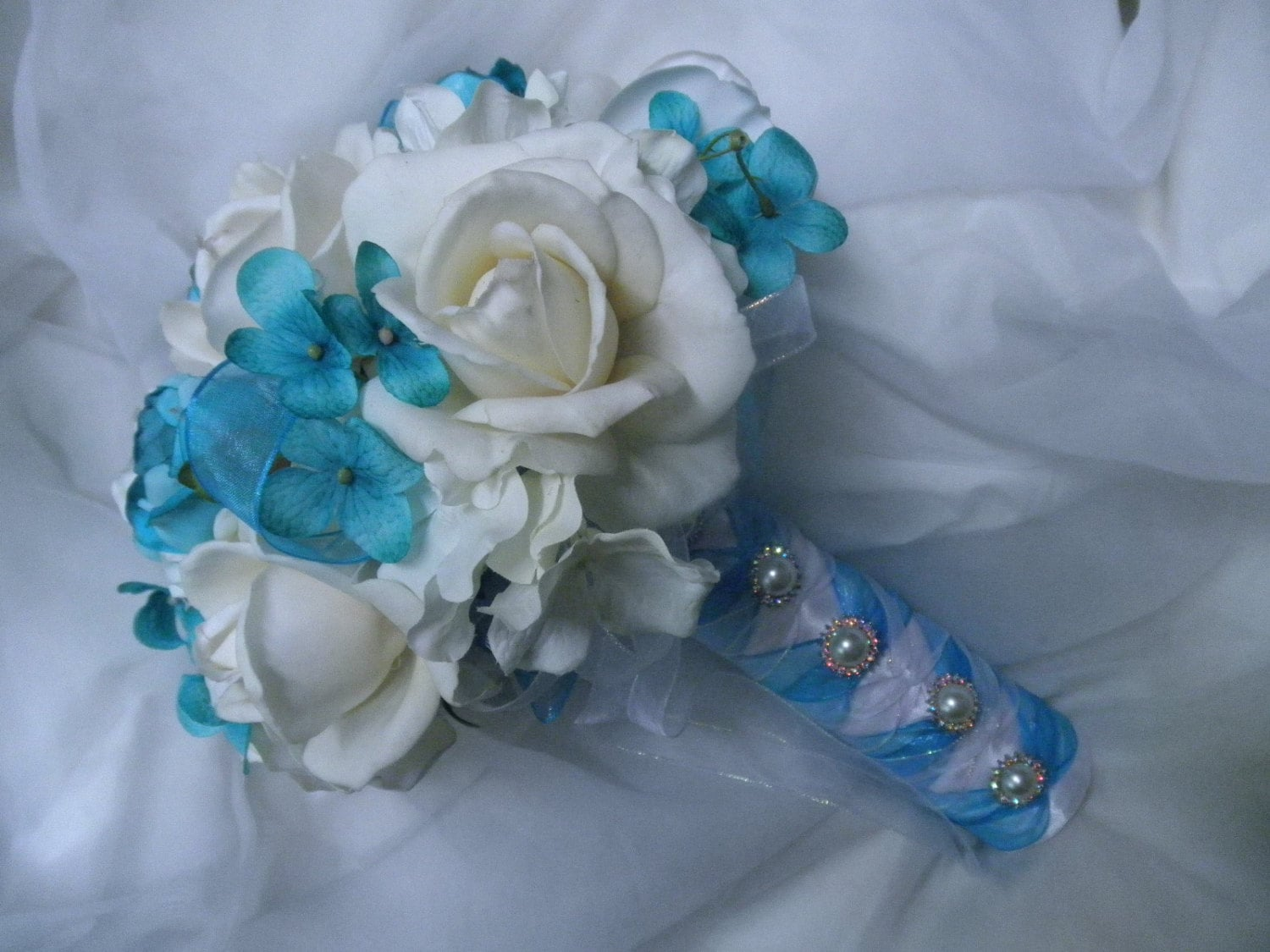 Bridal Bouquet In White Ivory Real Touch Roses Plus Silk Wedding