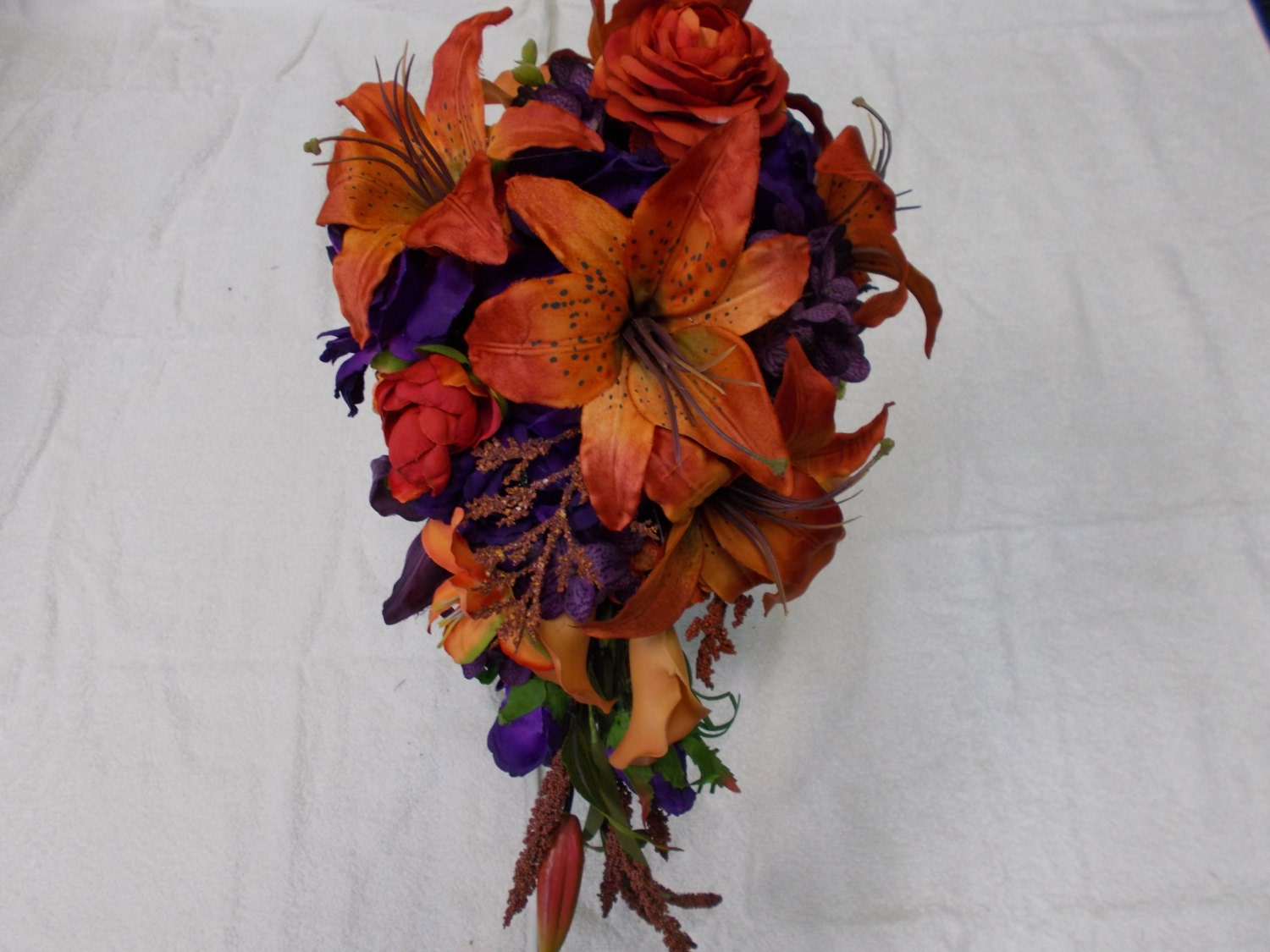Orange Purple Green Wedding flowers. Cascading Bridal Bouquet ...