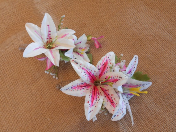 Hot pink white or orange stargazer lily bouquet bridesmaid etsy image 0 mightylinksfo