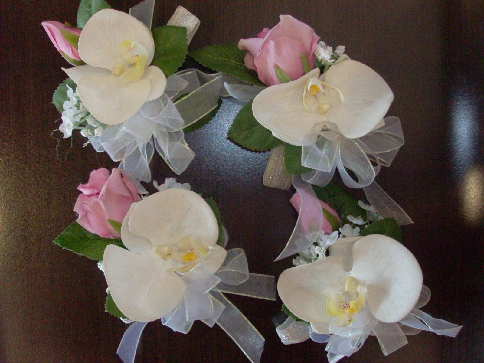 2 Pc Set Prom Corsage And Boutonniere Hot Pink White Magenta Etsy