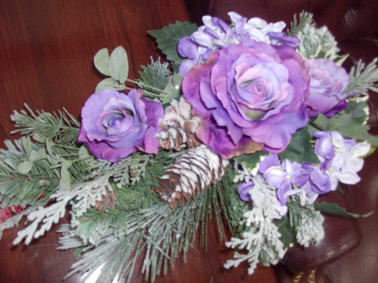 Rustic winter wedding flowers cascade bridal bouquet purple roses rustic winter wedding flowers cascade bridal bouquet purple roses white green or red snow pine cones mistletoe eucalyptus cedar berries izmirmasajfo