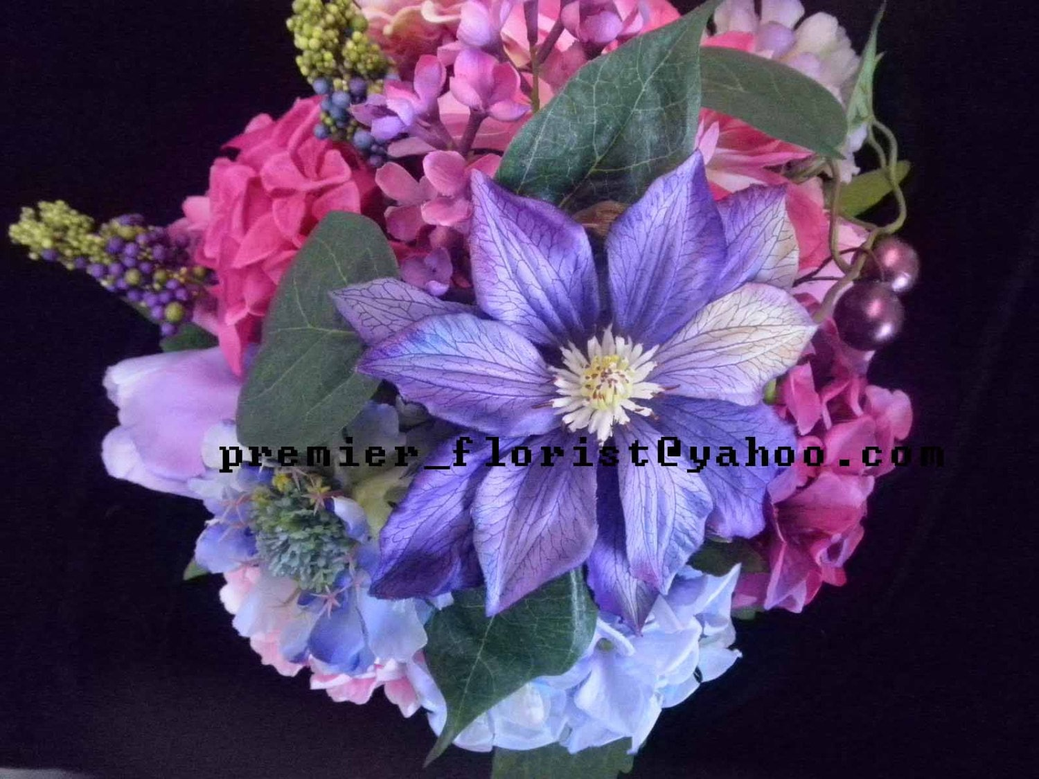 Purple Blue Pink Bridal Bouquet Premium Quality Designer Flowers