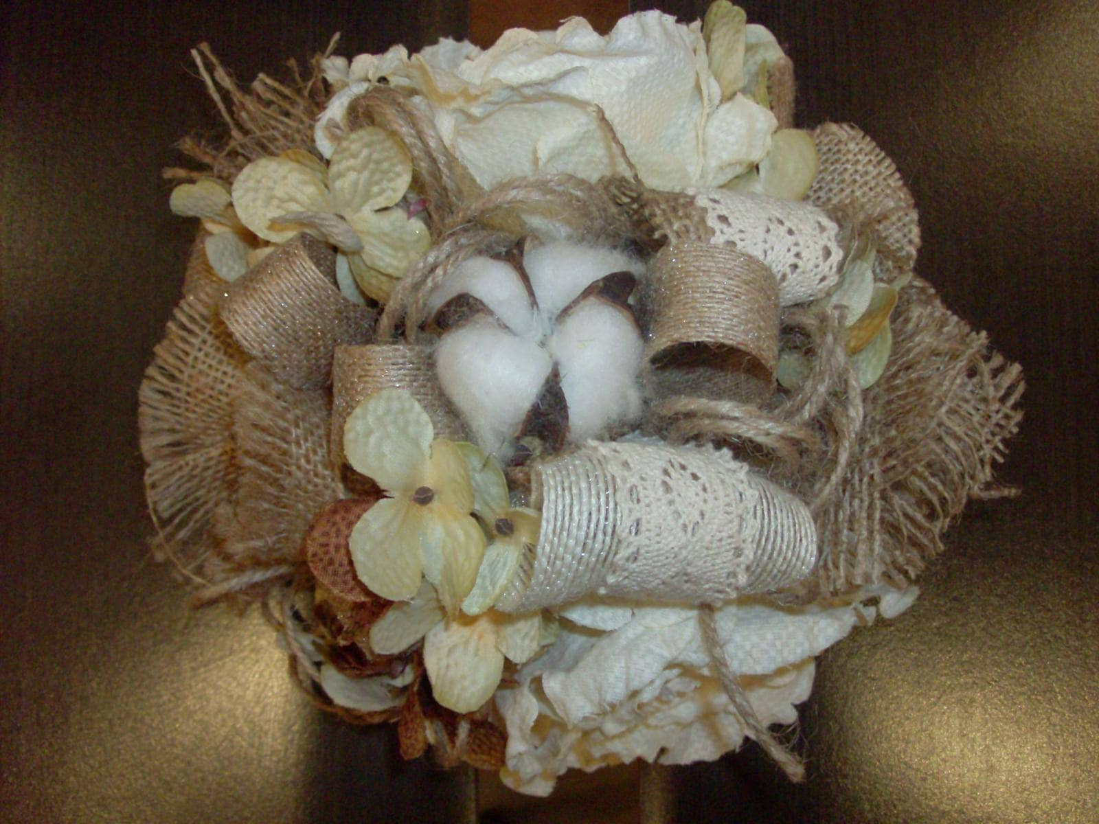 Burlap bridesmaid bouquet rustic wedding ivory tan burlap lace burlap bridesmaid bouquet rustic wedding ivory tan burlap lace silk flowers corsage western or country shabby chic vintage izmirmasajfo