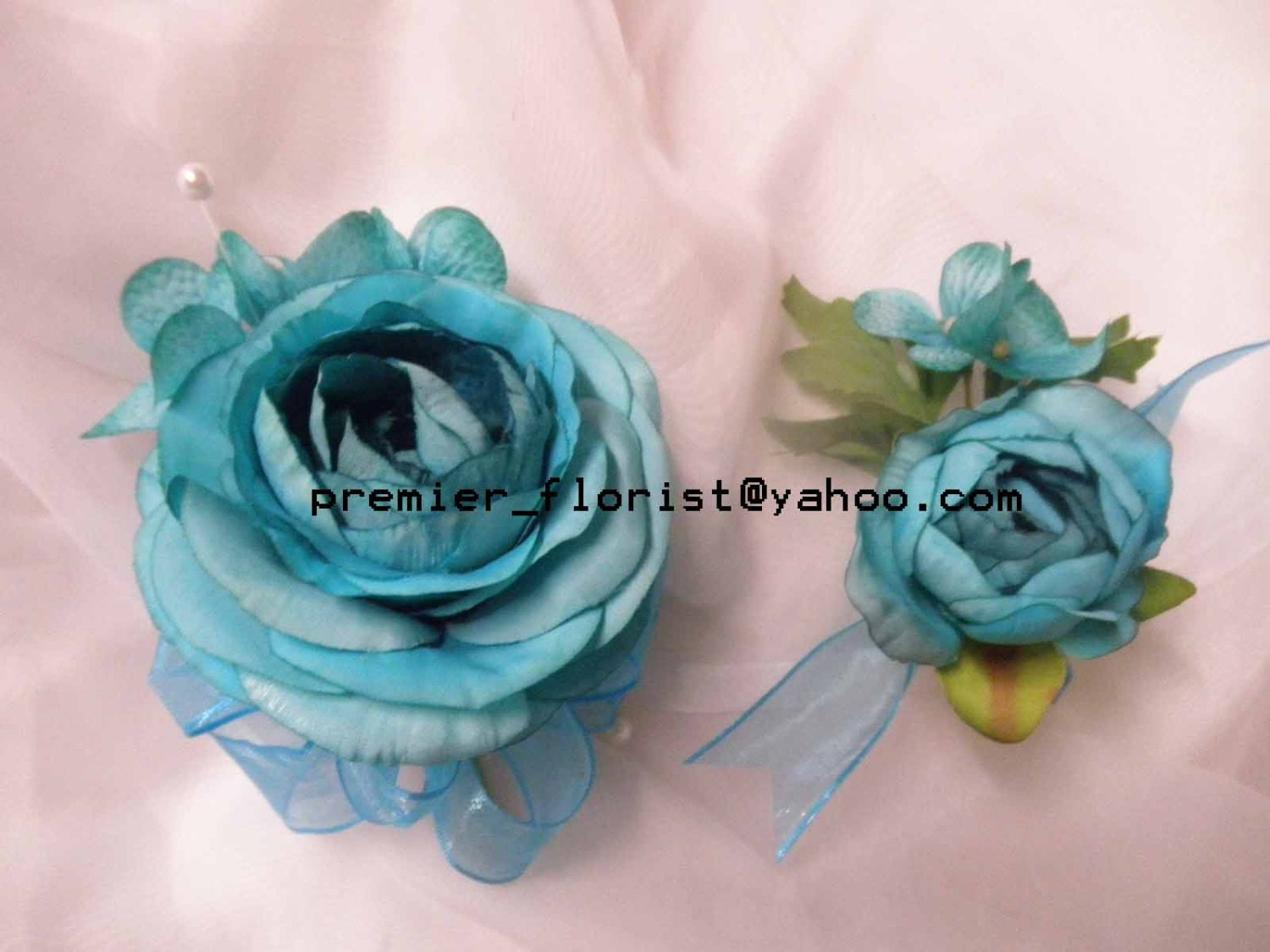 4 Pc Set Of Ranunculus Corsage Or Boutonniere Turquoise Teal Silk